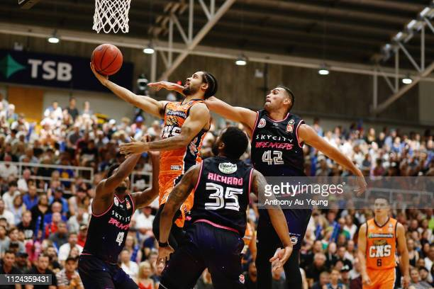 Melo Trimble of the Taipans goes to the basket against Tai Wesley of the Breakers during the round 15 NBL match between the New Zealand Breakers and...