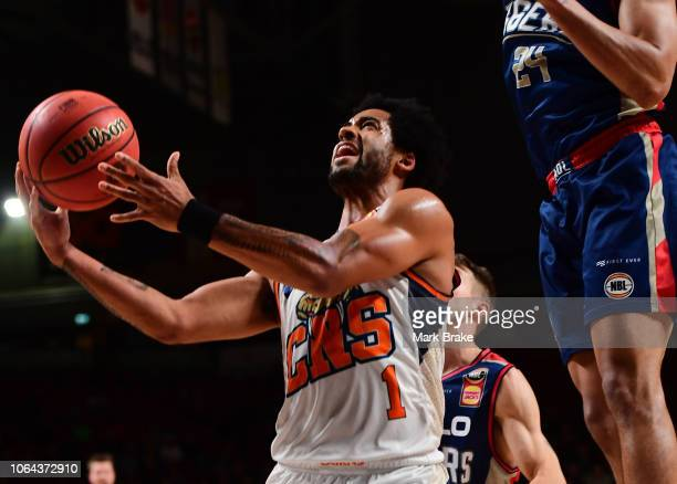 Melo Trimble of the Taipans heads for the basket during the round seven NBL match between the Adelaide 36ers and the Cairns Taipans at Titanium...