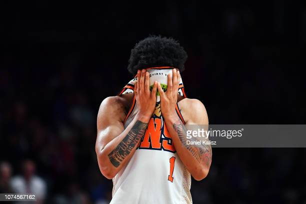 Melo Trimble of the Taipans reacts after the final whistle during the round 10 NBL match between the Adelaide 36ers and the Cairns Taipans at...