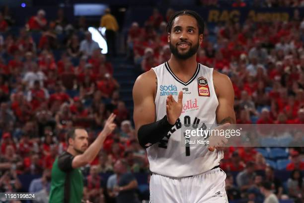Melo Trimble of United celebrates a call during the round 12 NBL match between the Perth Wildcats and Melbourne United at RAC Arena on December 21,...