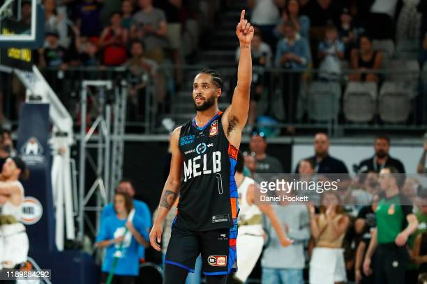 Melo Trimble of United celebrates after winning during the round 8 NBL match between Melbourne United and the Brisbane Bullets at Melbourne Arena on...