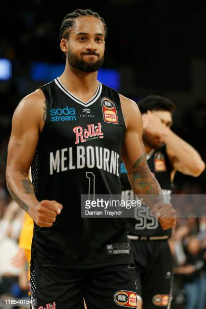 Melo Trimble of United reacts during the round five NBL match between Melbourne United and the Sydney Kings at Melbourne Arena on November 04, 2019...