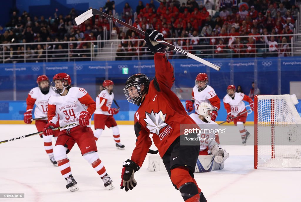 Melodie Daoust #15 of Canada celebrates after scoring a goal in the second period against Olympic Athletes from Russia during the Women's Ice Hockey Preliminary Round - Group A game on day two of the PyeongChang 2018 Winter Olympic Games at Kwandong Hockey Centre on February 11, 2018 in Gangneung, South Korea.