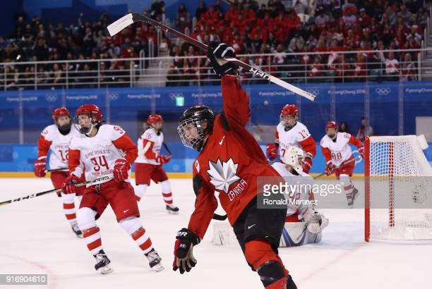 Melodie Daoust of Canada celebrates after scoring a goal in the second period against Olympic Athletes from Russia during the Women's Ice Hockey...