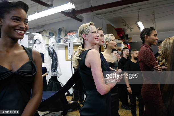 Melodie Monrose Anne Vyalitsyna Anne Cleveland Soo Joo Park and Arlenis Sosa wait backstage at the Zac Posen Fall 2014 Collection during MercedesBenz...