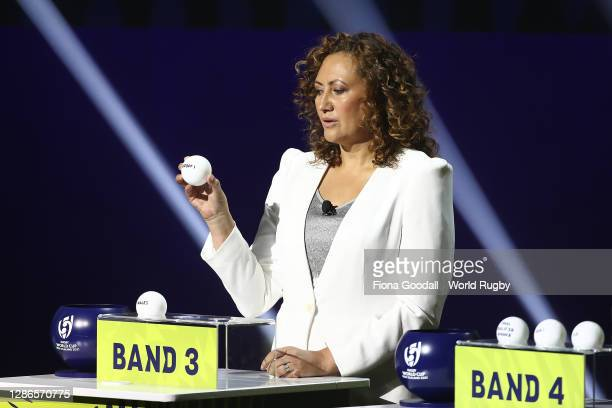 Melodie Robinson draws a ball during the Rugby World Cup 2021 Draw event at the SKYCITY Theatre on November 20, 2020 in Auckland, New Zealand.