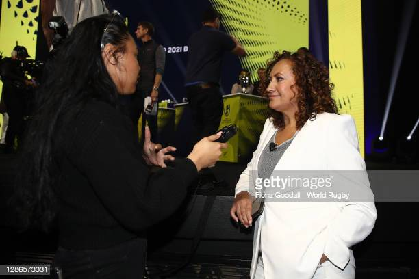 Melodie Robinson is interviewed during the Rugby World Cup 2021 Draw event at the SKYCITY Theatre on November 20, 2020 in Auckland, New Zealand.