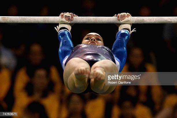 Melody Hernandez of New South Wales in action on the uneven bars during the Womens Artistic competition on day one of the Australian Gymnastics...