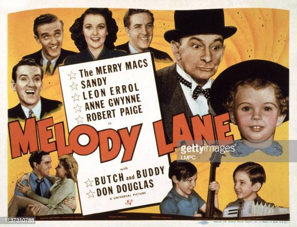 Melody Lane, US lobbycard, clockwise from left, the Merrry Macs: Judd McMichael, Joe McMichael, Mary Lou Cook, Ted McMichael, Leon Errol, Baby Sandy,...