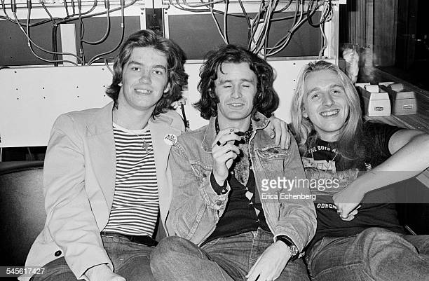 Melody Maker journalist Harry Doherty with Thin Lizzy's road manager Frank Murray and guitar tech Charlie Maclennan at Ramport Studio Battersea...