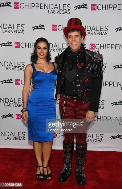 Melody Sweets and celebrity blogger Perez Hilton arrive at Chippendales at Rio AllSuite Hotel And Casino on July 27 2018 in Las Vegas Nevada