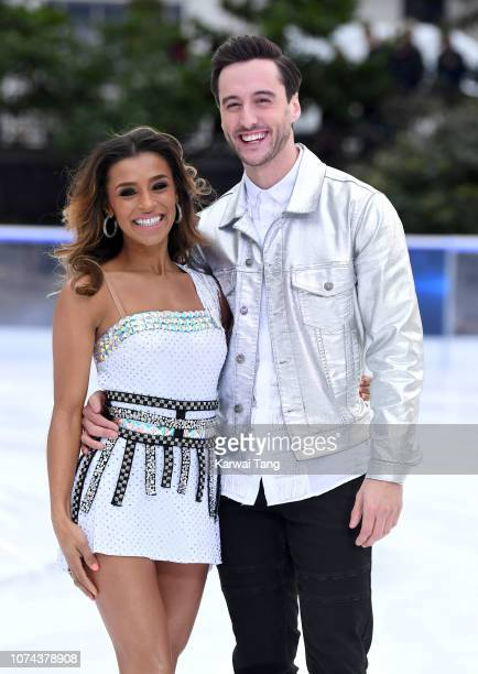 Melody Thornton and Alexander Demetriou attend a photocall for the new series of Dancing On Ice at Natural History Museum Ice Rink on December 18...