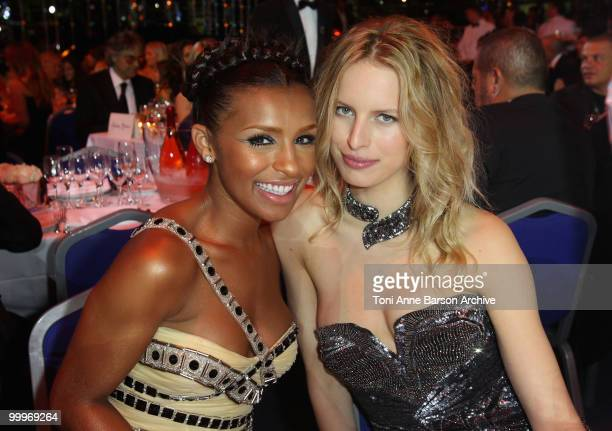 Melody Thornton and Karolina Kurkova on stage during the World Music Awards 2010 at the Sporting Club on May 18 2010 in Monte Carlo Monaco