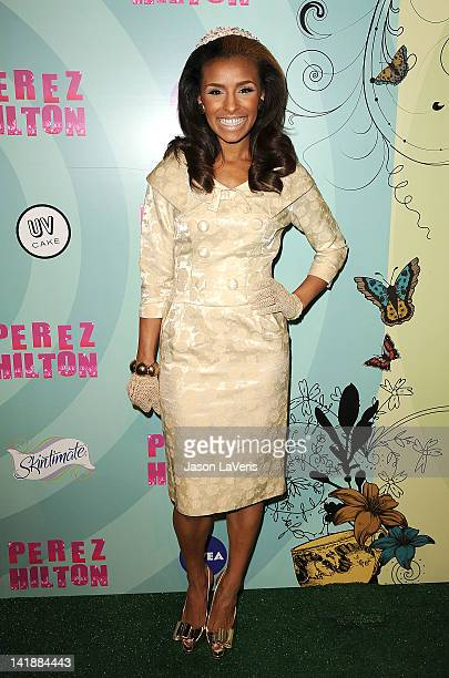 Melody Thornton attends Perez Hilton's Mad Hatter tea party birthday celebration on March 24 2012 in Los Angeles California
