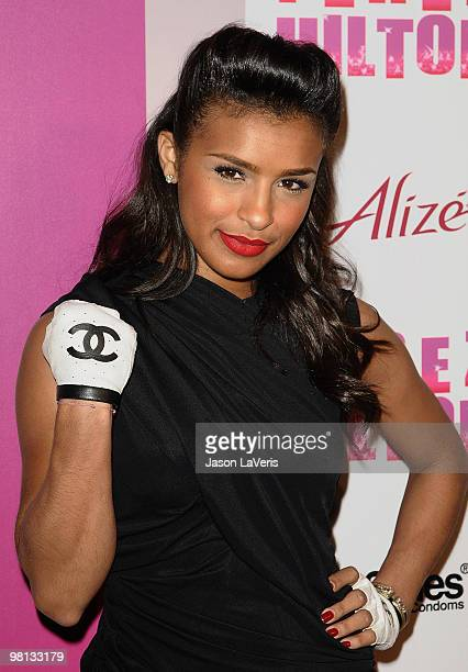 Melody Thornton of The Pussycat Dolls attends Perez Hilton's 'CarnEvil' Theatrical Freak and Funk 32nd birthday party at Paramount Studios on March...