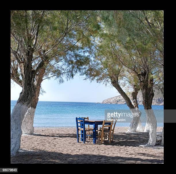 meloi beach - patmos island - greece - dodecanese islands stock photos and pictures