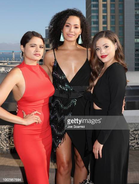 """Melonie Diaz, Madeleine Mantock and Sarah Jeffery attend BuzzFeed Presents: SPELLS & SPIRITS Conjured By The CW """"Charmed"""" at Altitude Sky Lounge on..."""