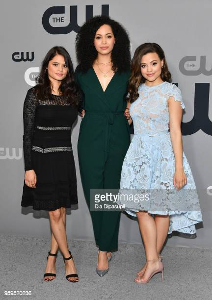 Melonie Diaz Madeleine Mantock and Sarah Jeffery attend the 2018 CW Network Upfront at The London Hotel on May 17 2018 in New York City
