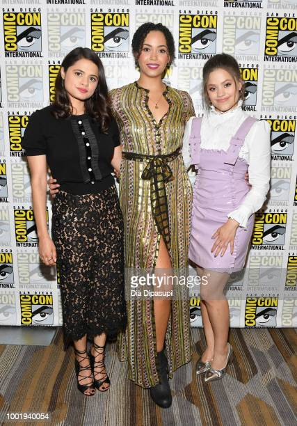 Melonie Diaz Madeleine Mantock and Sarah Jeffery of 'Charmed' attend CBS Television Studios Press Line during ComicCon International 2018 at Hilton...
