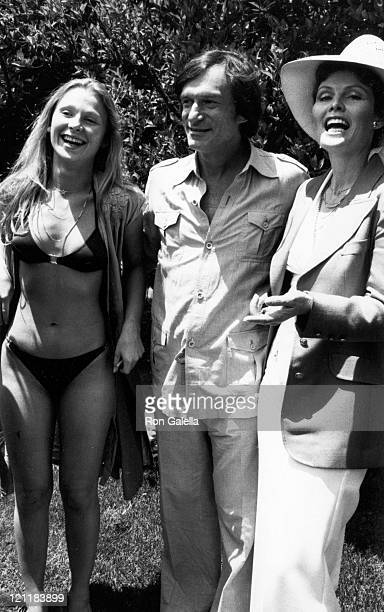 Melonie Haller and Hugh Hefner attend Tennis and Crumpet Tournament on May 21 1980 at the Playboy Mansion in Beverly Hills California
