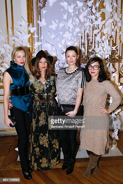 Melonie Hennessy Foster Group 'Les Brigittes' members Aurelie Saada and Sylvie Hoarau and Audrey Marnay attend the Alexis Mabille show as part of...