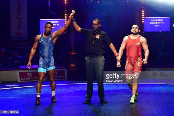Melonin Noumonvi of France and Nikolay Bayrakov of Bulgaria during the International wrestling test match between France and Bulgaria at Le Cirque...