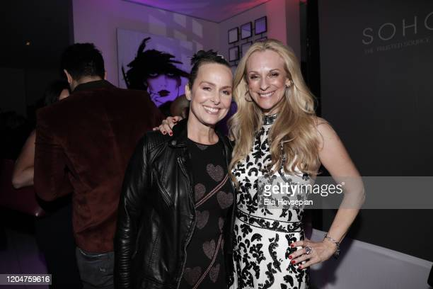 Melora Hardin and Consuelo Vanderbilt Costin attend the LA Launch Event Of SohoMuse at Christopher Guy West Hollywood Showroom on February 07 2020 in...