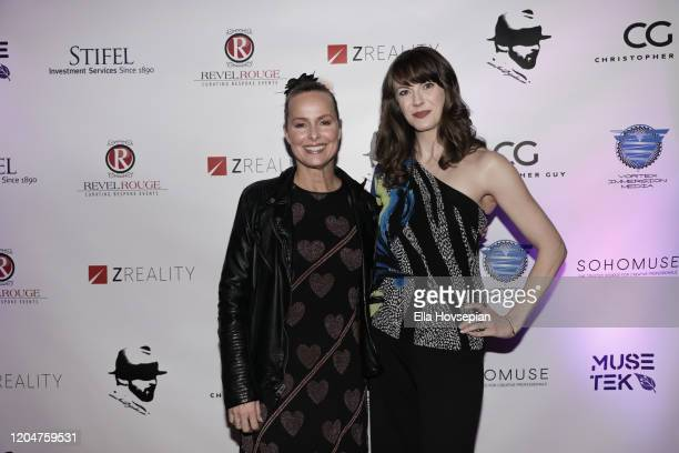 Melora Hardin and Heidi Schultz attend the LA Launch Event Of SohoMuse at Christopher Guy West Hollywood Showroom on February 07 2020 in West...