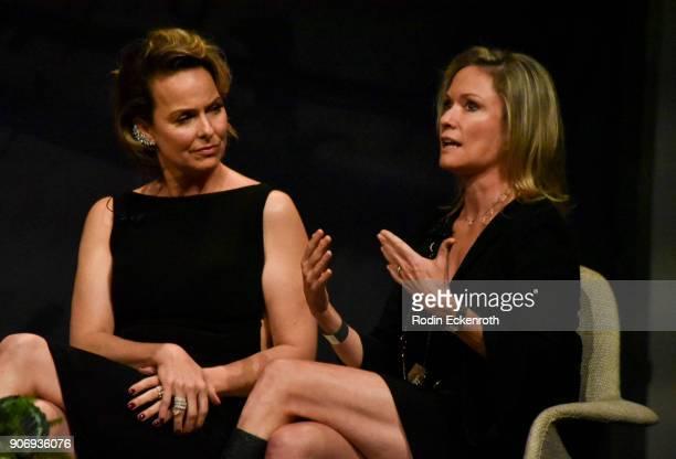 Melora Hardin and Joanna Johnson speak on stage at Freeform Summit on January 18 2018 in Hollywood California