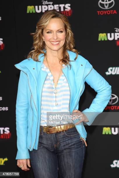 Melora Hardin arrives at the Los Angeles premiere of Muppets Most Wanted held at the El Capitan Theatre on March 11 2014 in Hollywood California