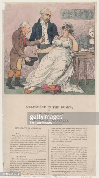 Melpomene in the Dumps or Child's Play Defended by Theatrical Monarchs 1804 Artist Thomas Rowlandson