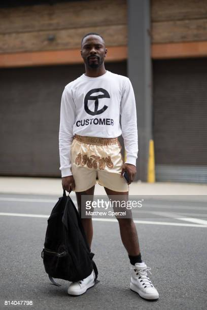 Melquan Ganzy is seen attending General Idea Raun LaRose during Men's New York Fashion Week wearing vintage on July 13 2017 in New York City