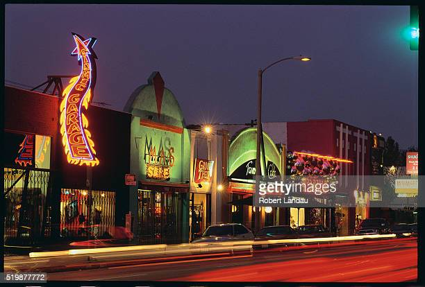 melrose street shops at night - hollywood california stock pictures, royalty-free photos & images