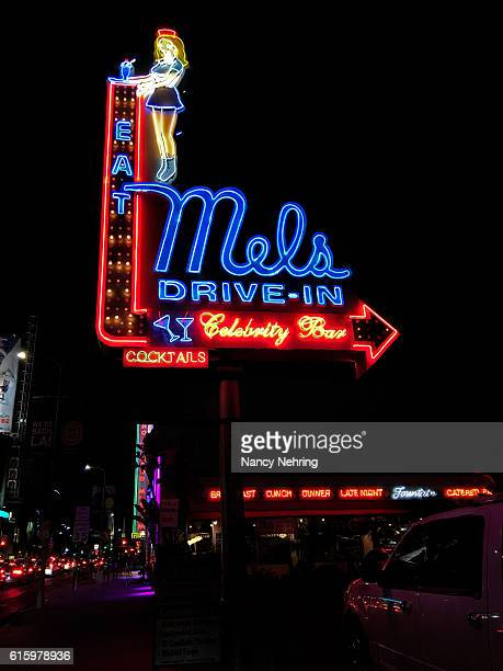 Mels Drive-In neon sign at night in Hollywood, California