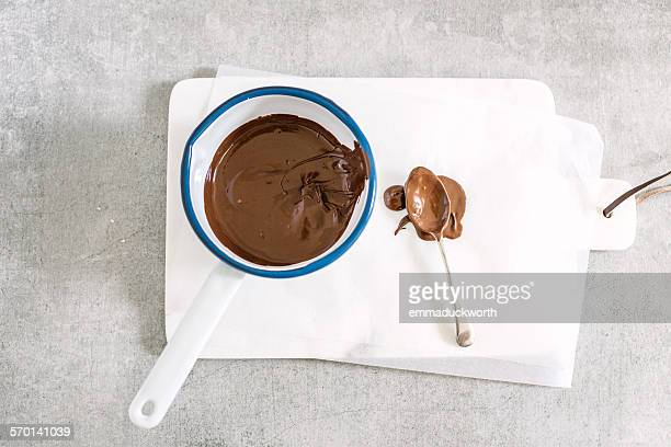 Melted chocolate in pan