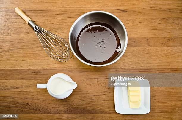 Melted chocolate with cream and butter