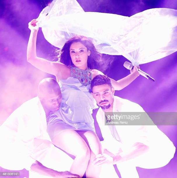 Meltem Acikgoez performs at the rehearsal for the 1st 'Deutschland sucht den Superstar' show at Coloneum on March 29 2014 in Cologne Germany