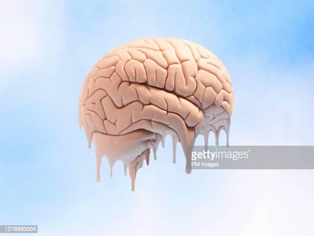 melting brain - bewustwording over geestelijke gezondheid stockfoto's en -beelden