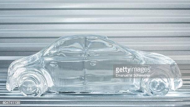 melting car made of ice