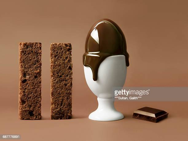 Melting chocolate egg in an eggcup