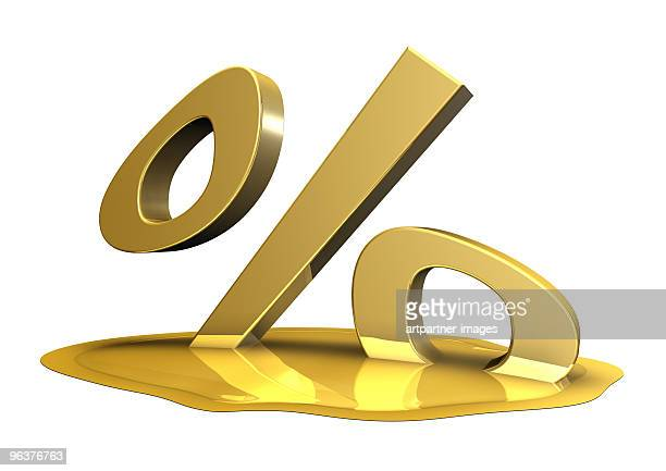 Melting Golden Percentage Sign