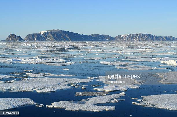 Melting ice in the Arctic showing the Arctic Ice Floe