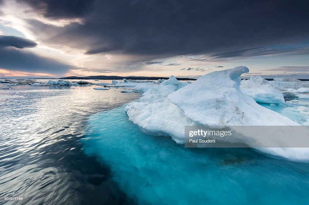 Melting Sea Ice, Hudson Bay, Nunavut Territory, Canada : Stock Photo