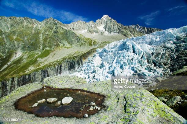 melting seracs on the snout of the argentiere glacier like most alpine glaciers it is retreating rapidly due to global warming chamonix, france. - retreating ストックフォトと画像