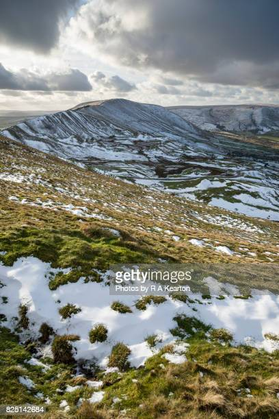 Melting snow in a Peak District landscape