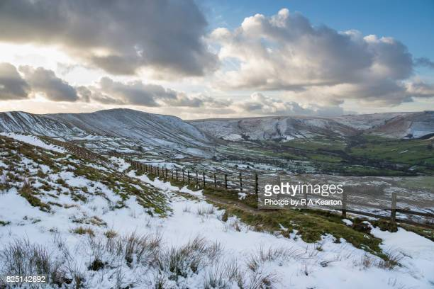 Melting snow in a Peak District landscape