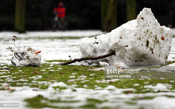 A melting snowman lays in a park in Duesseldorf western Germany on January 28 2013 After days of a cold spell temperatures rise again over the...