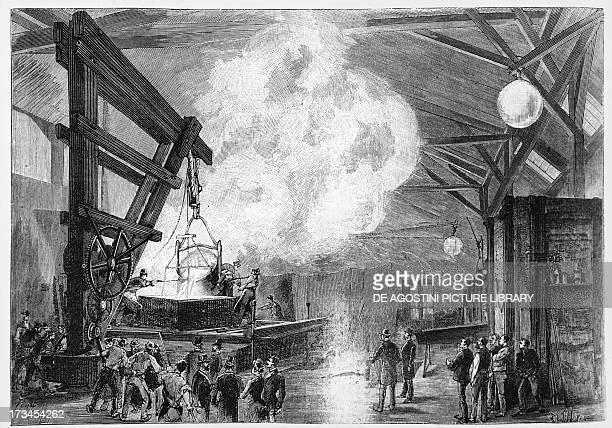 Melting the gown of the Statue of Liberty of New York by the sculptor Frederic Auguste Bartholdi in Paris in the presence of Ambassador Levi Morton...
