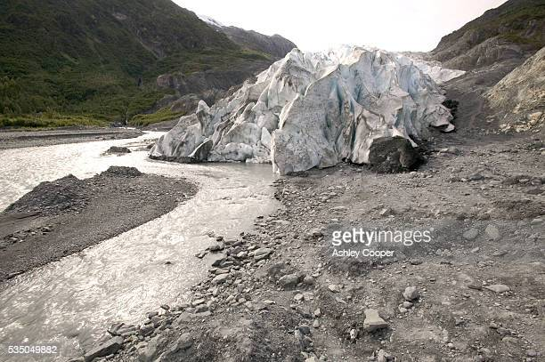 Meltwater flowing from the snout of Exit glacier, Kenai Fjords National Park, Alaska. The glacier is so named as it gave early gold prospectors an...
