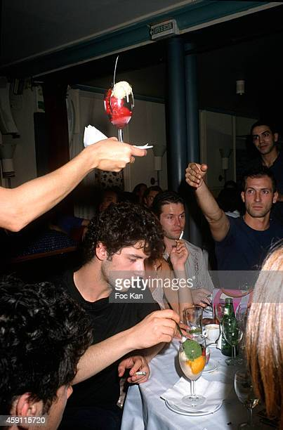 Melvil Poupaud and guests attend a fashion week Party at Les Bains Douches in the 1990s in Paris France